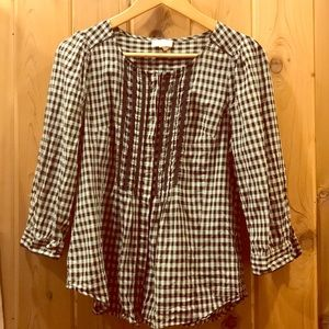 Anthro checked blouse